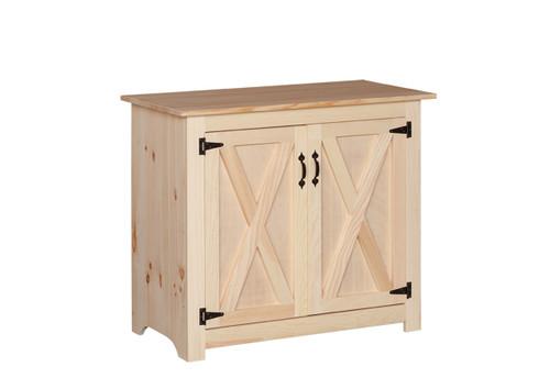 Pine Barn Door Microwave Stand 21 x 40 x 34