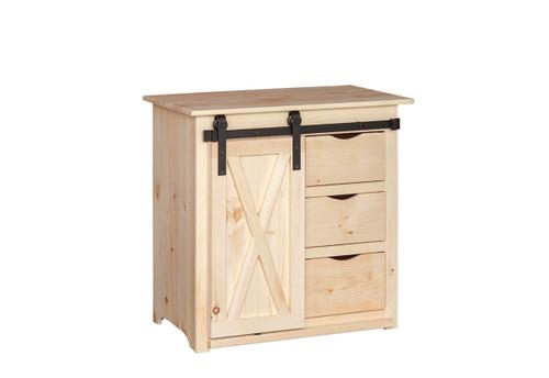Pine Sliding Barn Door Storage Cabinet 20 x 35 x 34