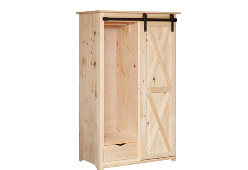 Pine Barn Door Wardrobe 25 x 43 x 71