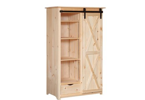 Pine Barn Door Pantry 25 x 43 x 71