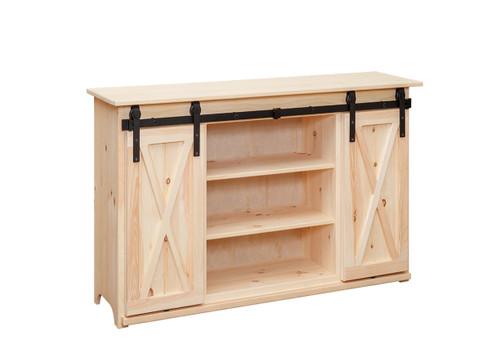 Pine Sliding Barn Door TV Stand 17 x 52 x 34