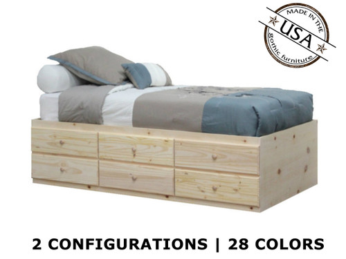 Extra Long Twin Storage Bed | Pine Wood