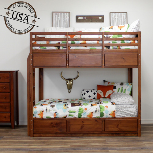 Twin Bunk Bed with 6 Drawers, Pine
