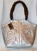 Silver leather handbag