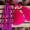 Hot Pink Beaded Bracelet with Tassel
