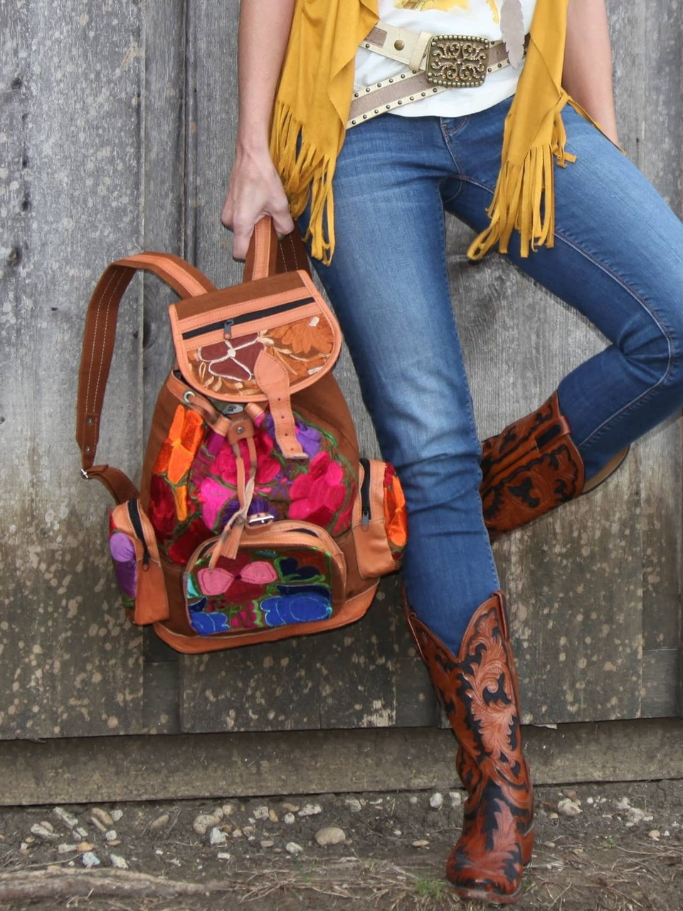 Embroidered Leather Backpack