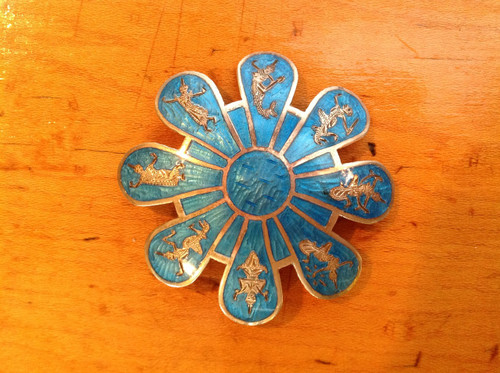 sterling Silver pin with turquoise indonesian dancing figures