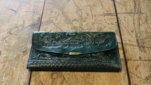 Hand tooled leather wallet - Black