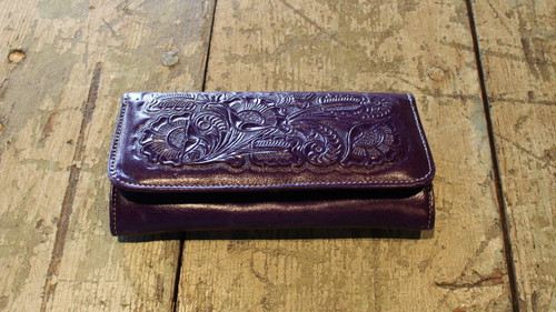 Purple Hand tooled leather wallet