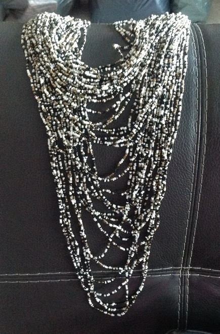 You will definitely make a statement in this handcrafted beaded necklace.