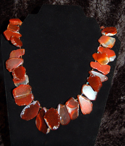 Rust Agate Stones and Crystal Necklace