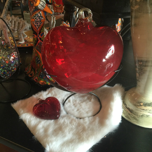 Red Hand Blown Glass Heart w/stand