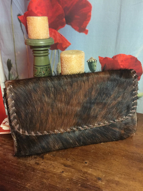 Beautiful Cowhide leather Clutch Purse  9x15 in