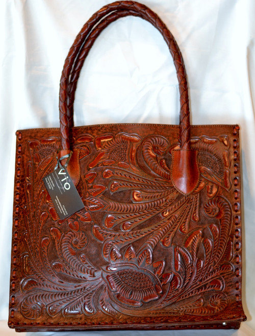 Brown large leather handbag
