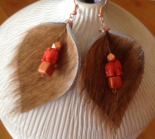 cowhide furry earrings