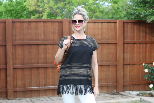 Black with gold stitching Mexican Top with Fringe