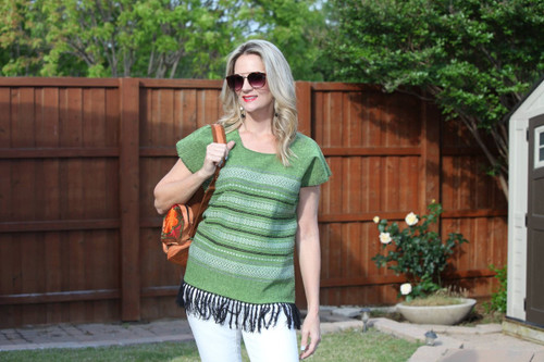 Green with tan/black stitching Mexican Top with Fringe