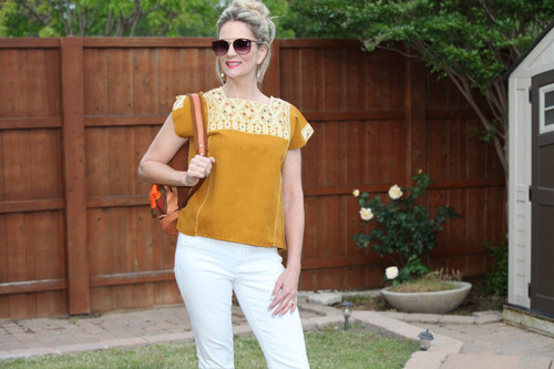 Gold Mexican Embroidered Top