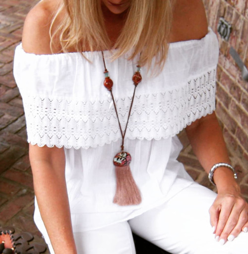 Off the Shoulder White Ruffle Top