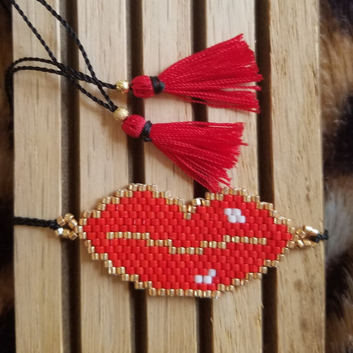 Red Lips Beaded Bracelet