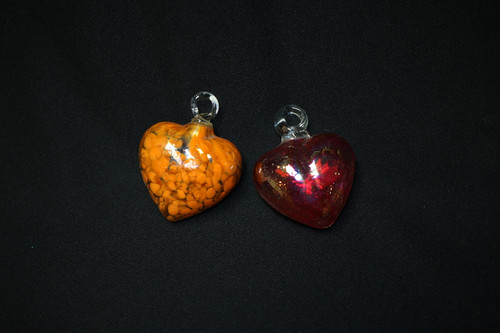 Hand Blow Glass Hearts, XS