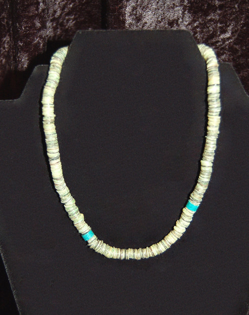 Necklace Native American White and Blue Turquoise Beaded