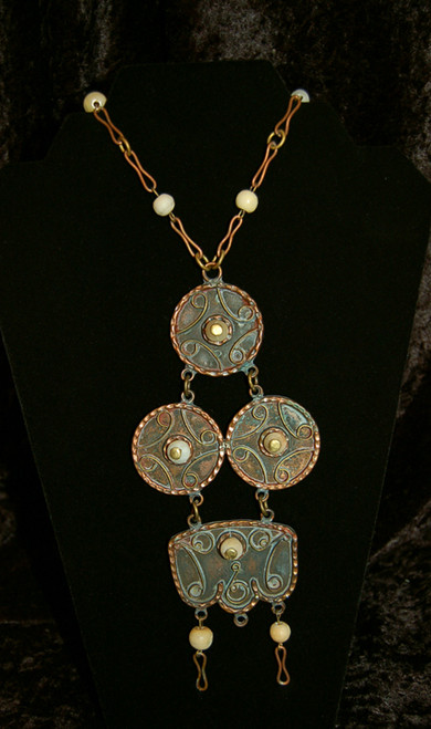 Old Copper with Onyx Beads Mexican Necklace