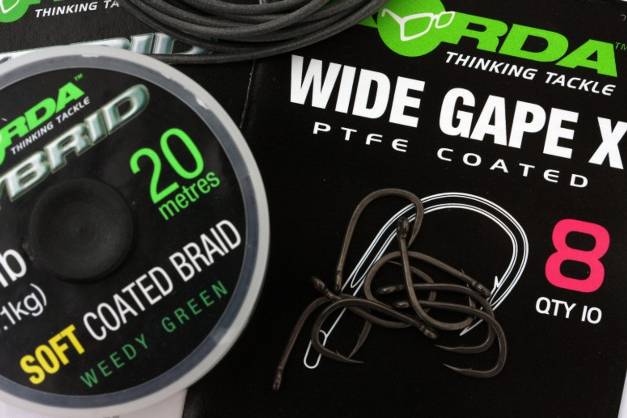 Sizes 2-12 Available Korda Wide Gape X Carp Fishing Hooks For Snag /& Carp