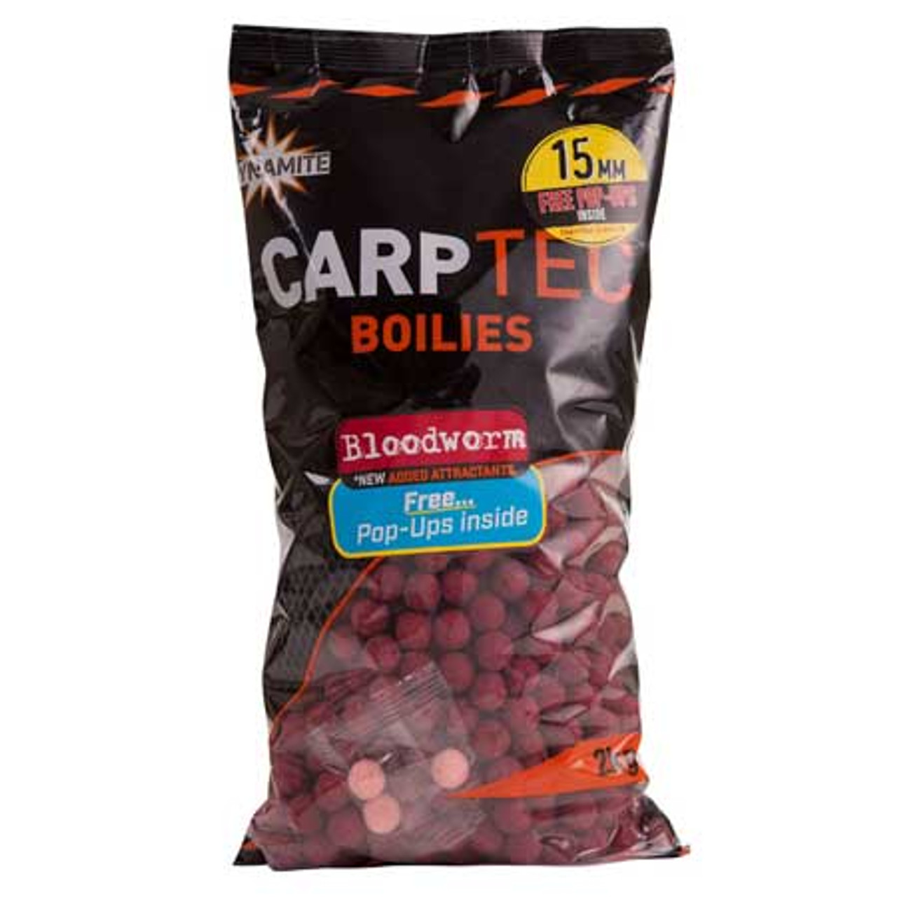 Dynamite Baits Carptec 2kg Bloodworm Boilies + Free Pop Ups
