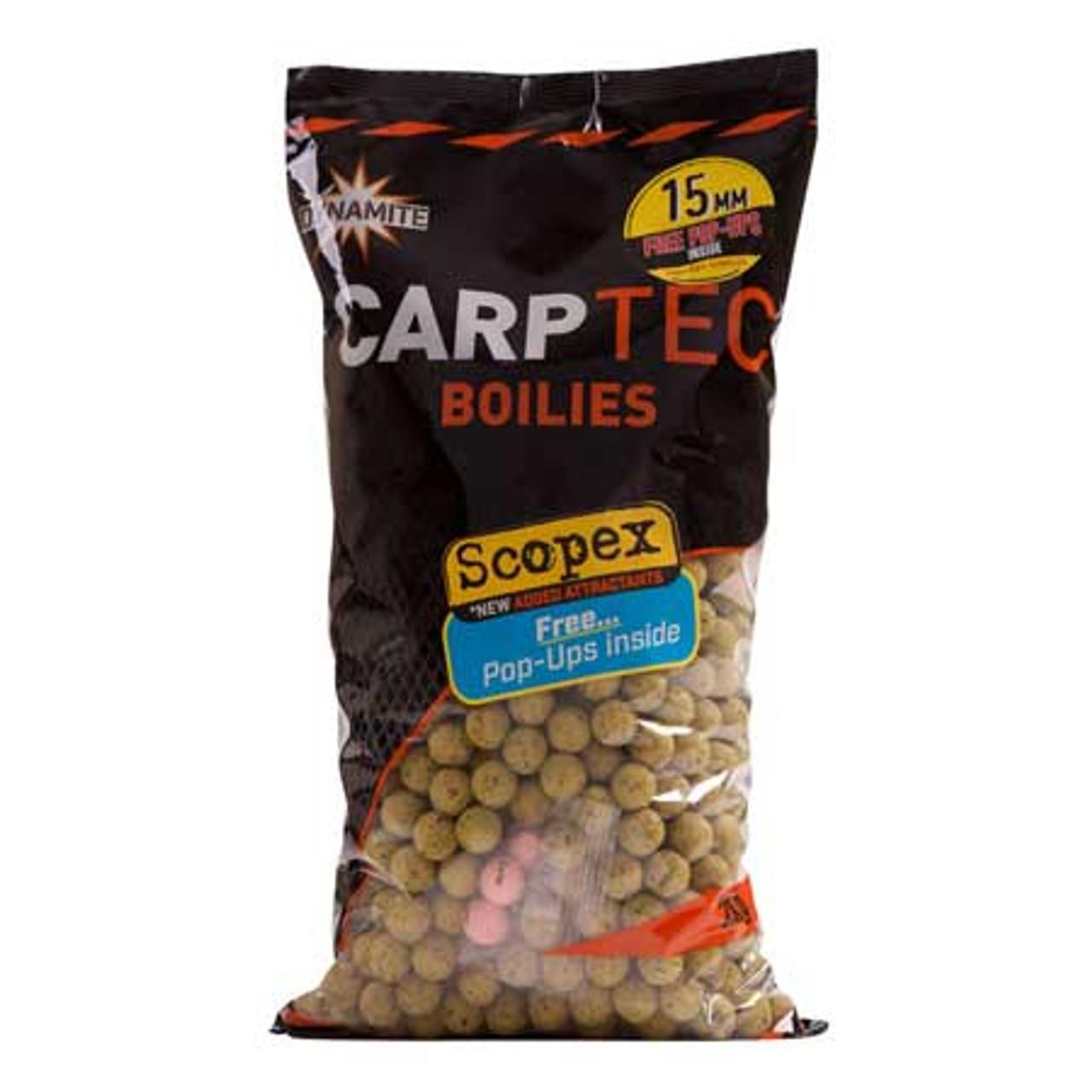 Dynamite Baits Carptec 2kg Scopex Boilies + Free Pop Ups