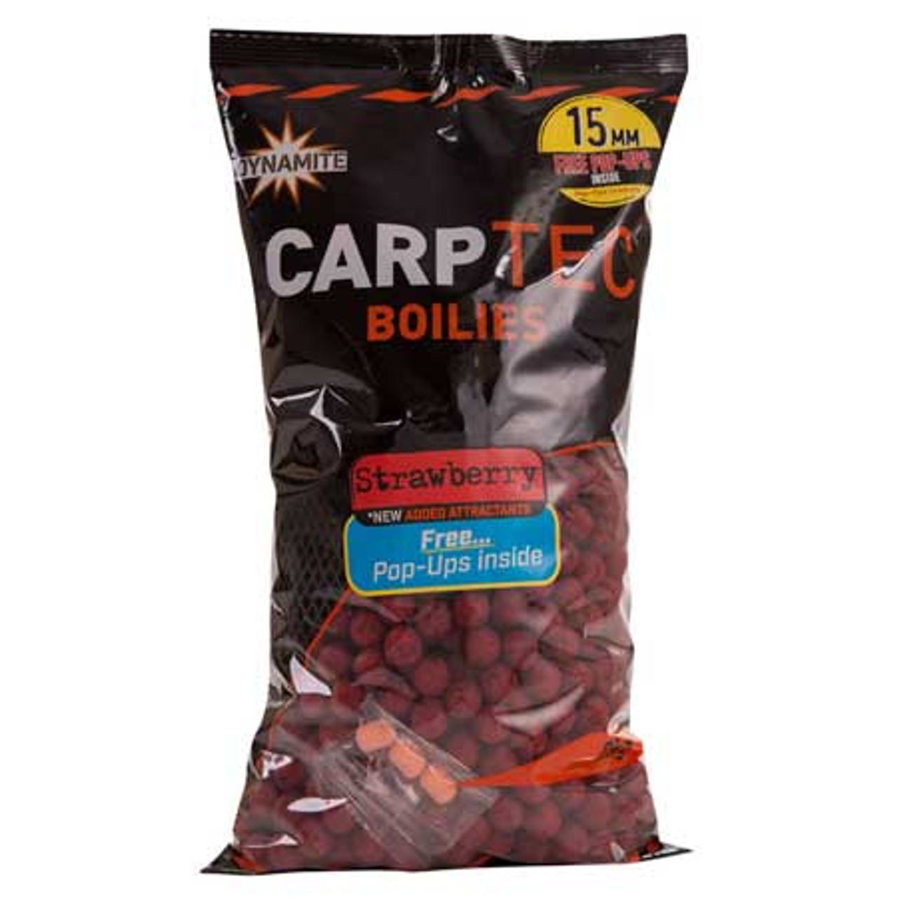 Dynamite Baits Carptec 2kg Strawberry Boilies + Free Pop Ups