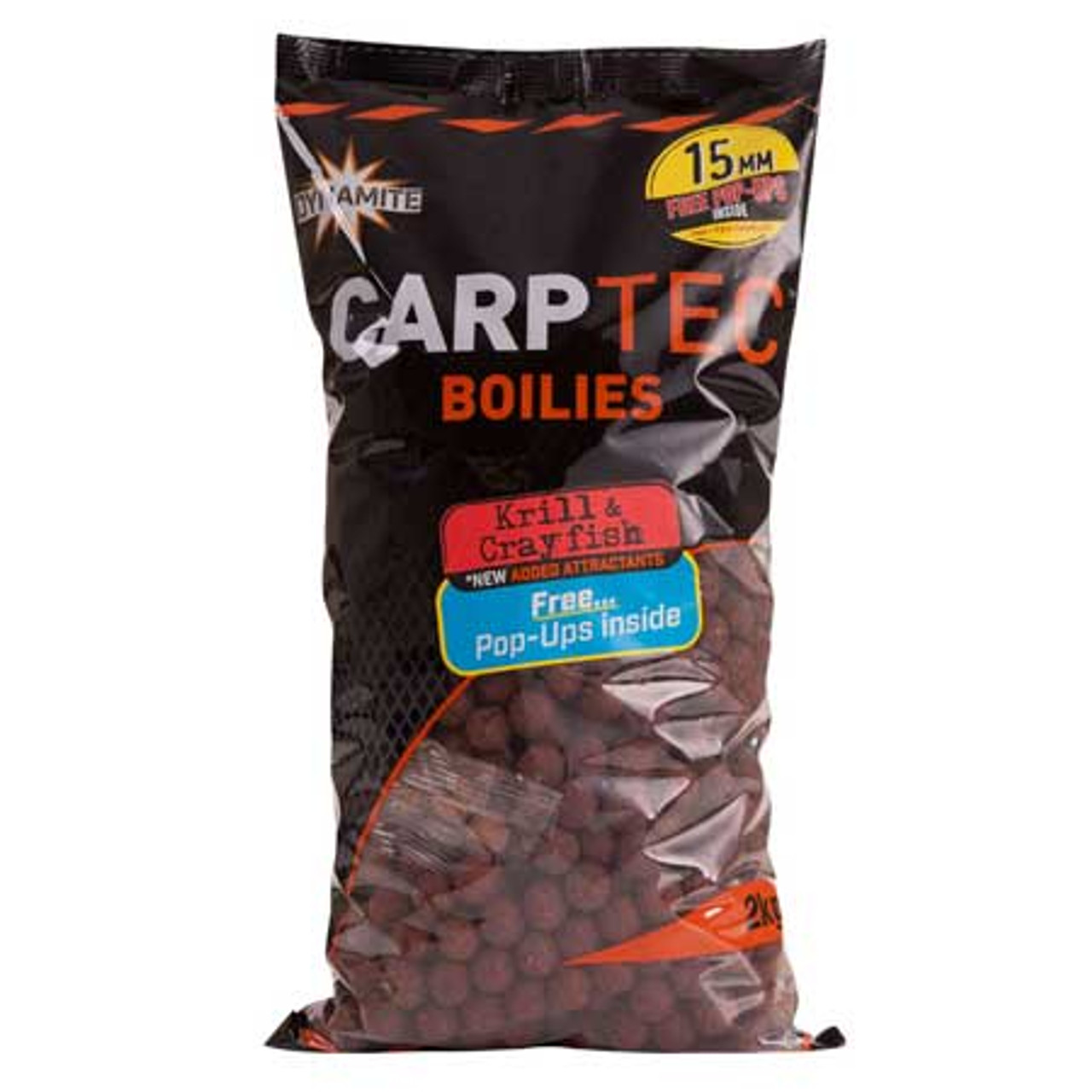 Dynamite Baits Carptec 2kg Krill & Crayfish Boilies + Free Pop Ups