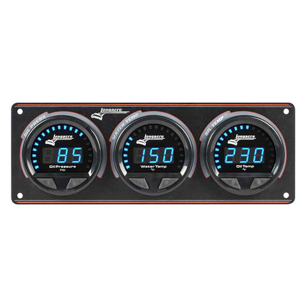 Longacre Waterproof Gauge Panel, 3 Gauge Oil Pressure/Water Temperature/Oil Temperature-Firewall Mount