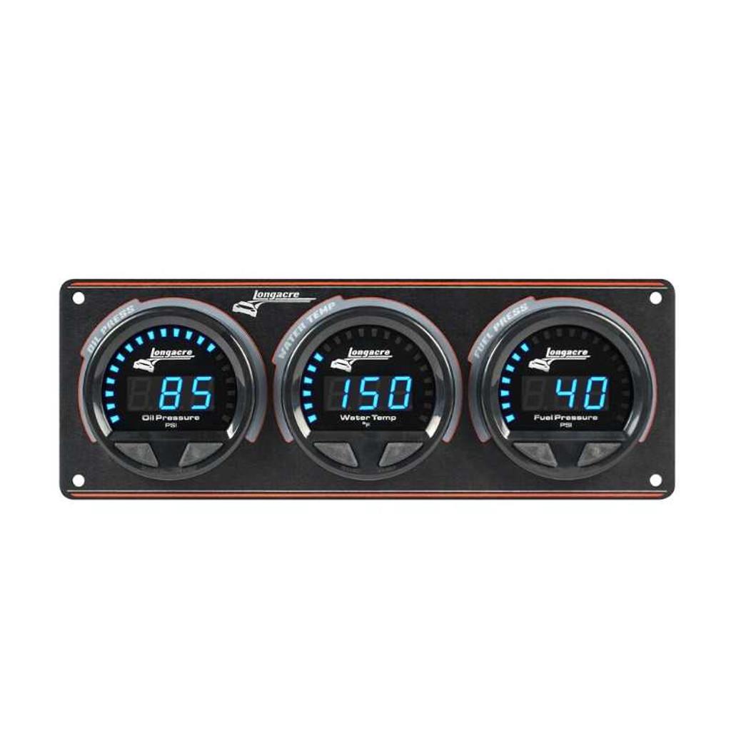 Longacre Waterproof Gauge Panel, 3 Gauge Oil Pressure/Water Temperature/Fuel Pressure