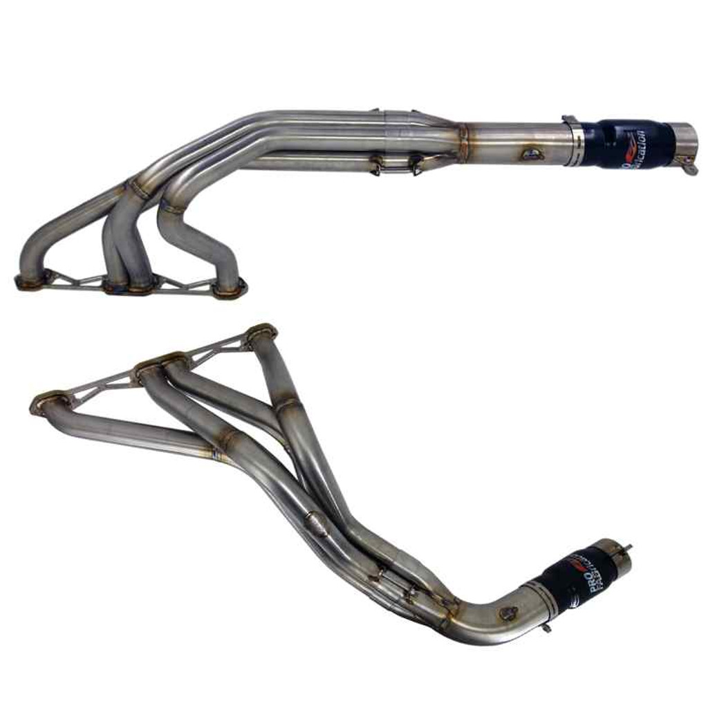 Pro Fab Dirt Late Model 602 Stainless Steel Header Set - with  Mufflers PF-H0673A3