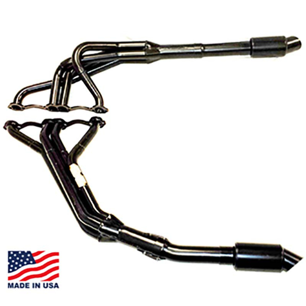 "Beyea 602 DLM Headers - 1.63-1.75""-2.75"" Collector w/ Extensions and Mufflers"