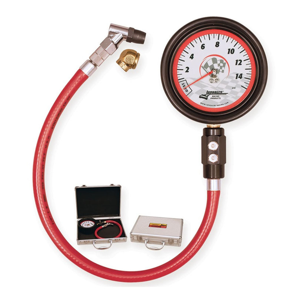 """Magnum 3½"""" Glow in the Dark Analog Tire Gauge by Longacre Racing Products, 0-15 psi"""