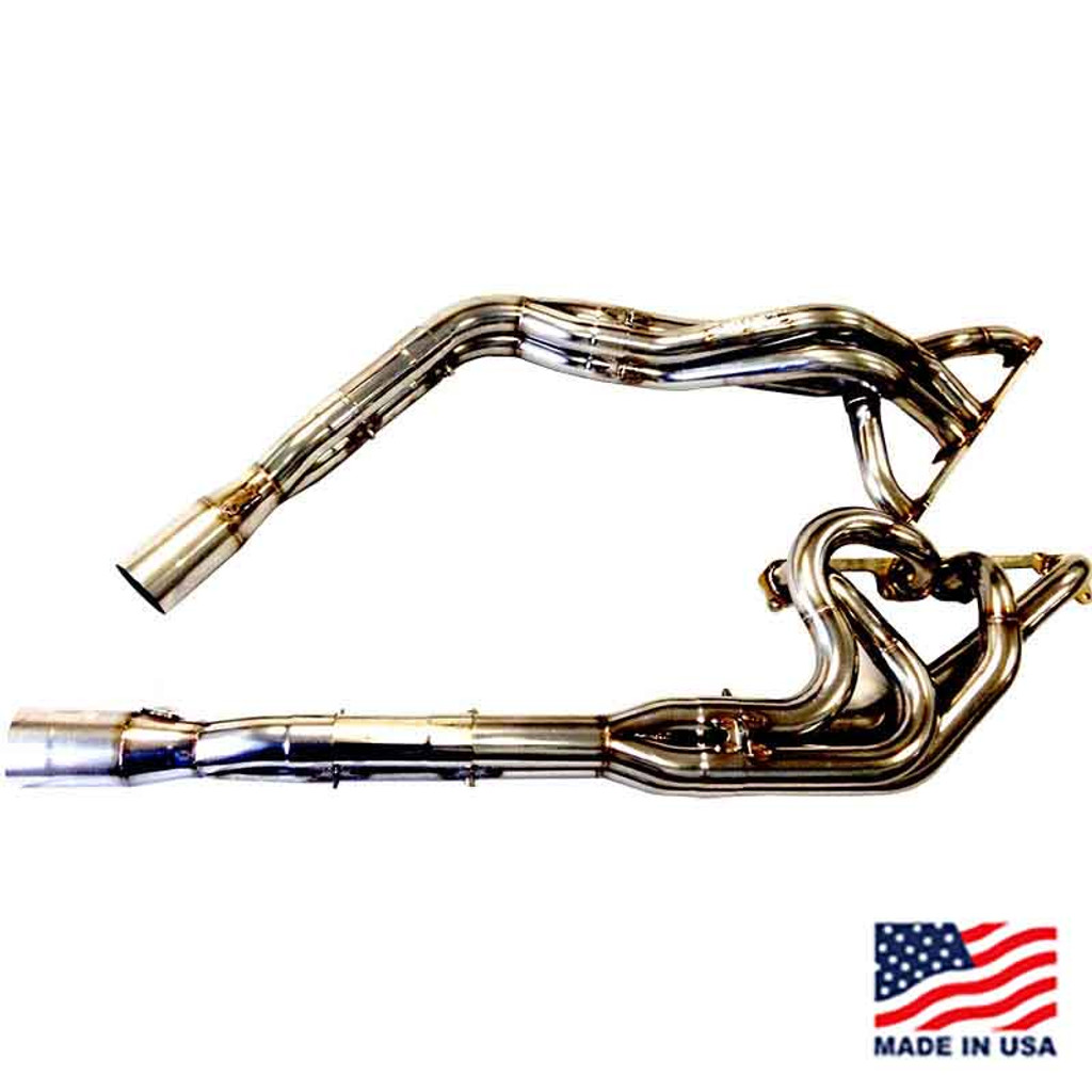"""Beyea Stainless Steel 604 DLM Headers - 1.63-1.75""""-2.75"""" Collector w/ Extensions and Mufflers (DLM604-14-SS)"""