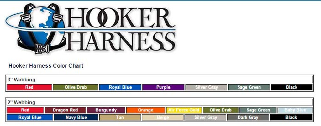 Hooker Harness Color Chart