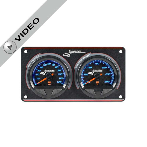 Longacre Waterproof Gauge Panel, 2 Gauge Oil Pressure/Water Temperature