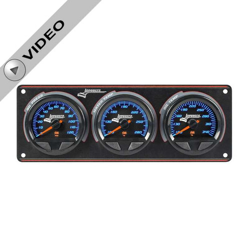 Longacre Waterproof Gauge Panel, 3 Gauge Oil Pressure/Water Temperature/Oil Temperature