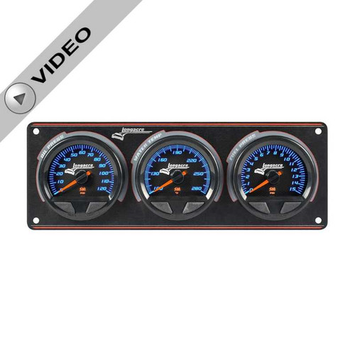 Elite Waterproof Longacre Gauge Panel, 3 Gauge Oil Pressure/Water Temperature/Fuel Pressure -15