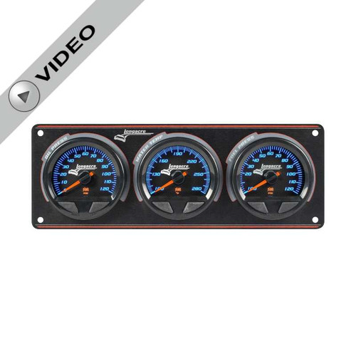 Elite Waterproof Longacre Gauge Panel, 3 Gauge Oil Pressure/Water Temperature/Fuel Pressure -10