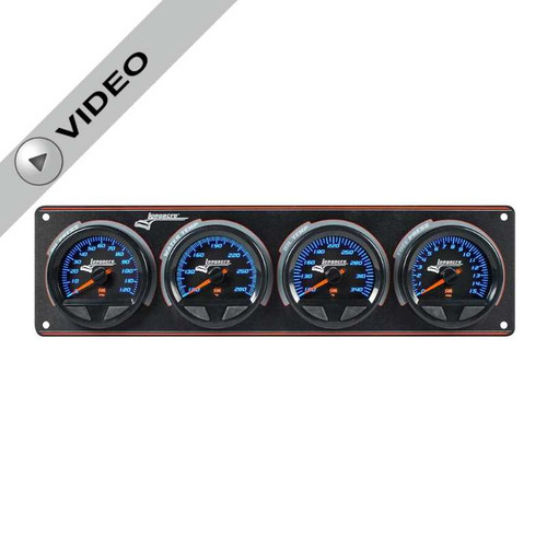 Longacre Waterproof Gauge Panel, 4 Gauge Oil Pressure/Water Temperature/Oil Temperature/Fuel Pressure-Firewall Mount