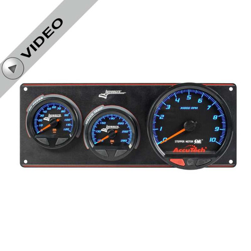 Longacre Waterproof Gauge Panel, 2 Gauge Oil Pressure/Water Temperature/Tach