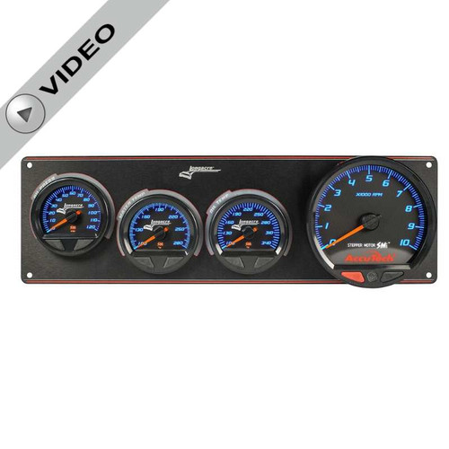 Longacre Waterproof Gauge Panel, 3 Gauge Oil Pressure/Water Temperature/Oil Temperature/Tach
