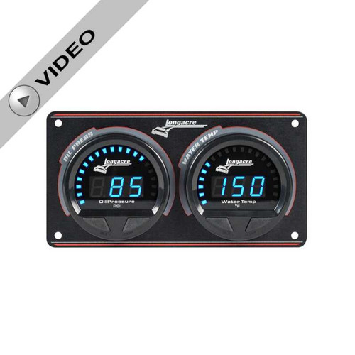 Longacre Waterproof Gauge Panel, 2 Gauge Oil Pressure/Water Temperature-Firewall Mount