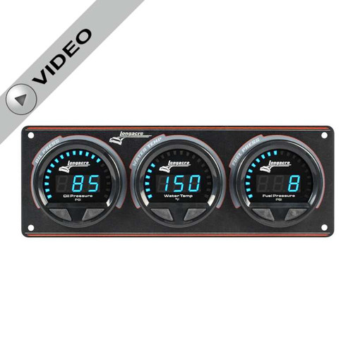 Longacre Waterproof Gauge Panel, 3 Gauge Oil Pressure/Water Temperature/Fuel Pressure