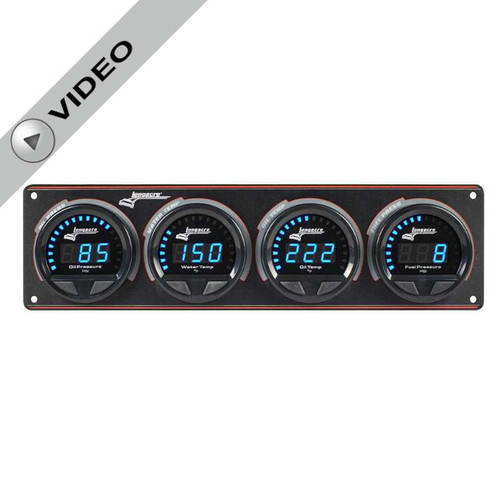 Longacre Waterproof Gauge Panel, 4 Gauge Oil Pressure/Water Temperature/Oil Temperature/Fuel Pressure-With Firewall Mount Option