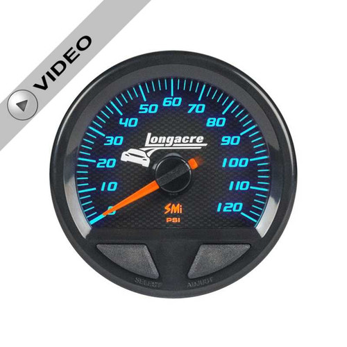 Longacre Waterproof Gauges, Oil Pressure 0-120 psi, Sensor Included